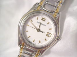 """L66, Wittnauer, Ladies Watch, White Face, Date, Two Tone 6.5"""" Link Band, 9565 - $59.09"""