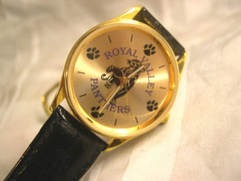 "C02, Royal Valley Panthers, Gold Tone Face w/ Logo, 8.5"" Black Leather Band, w/b - $19.79"
