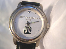 """C04, Best of Bremer Bank 2000 by Sweda, Silver Faced Watch, 8.5"""" Leather Band - $19.79"""