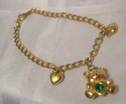 "AVON - Girls TEDDY BEAR and Hearts Gold Tone Bracelet - 6"" - $7.91"