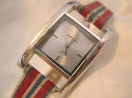 "L65, Fossil F2, Ladies Small. Silver Faced Watch, 8"" Striped Canvas Band, ES9607 - $25.83"