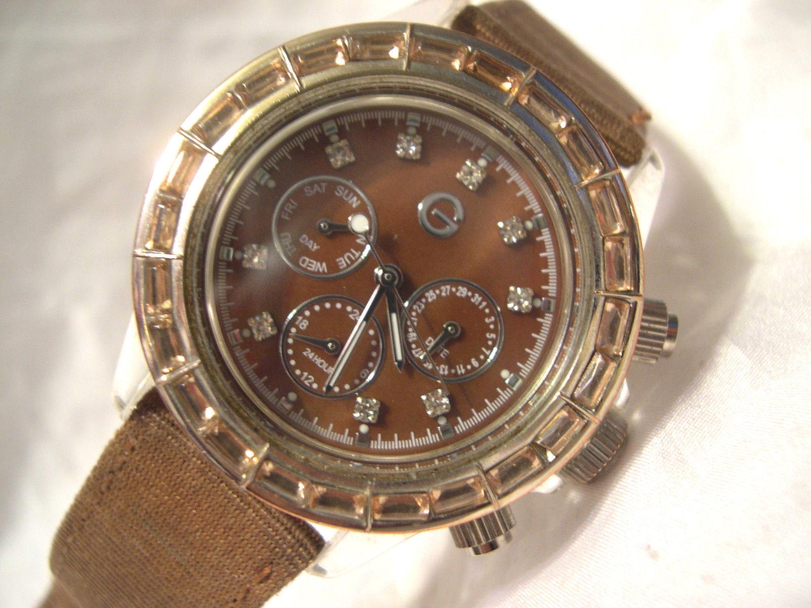 "L63, Gossip, Ladies Copper Faced Watch, Crystal Surround, 9"" Brown Strap - $15.79"
