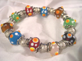 "B04, Hand Made:  .5"" Murano Glass Beads, Lampwork,  Stretch Bracelet - $9.89"