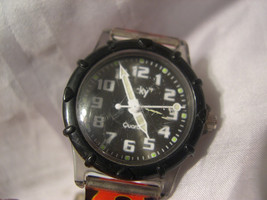 """L16, Lucky, Ladies Black Faced Watch, 7.5"""" Flame Band, LK 6068  w/b - $19.83"""