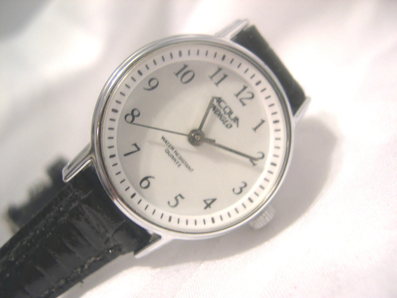 "Primary image for L17, Acqua Indiglo, Ladies White Faced Watch, 7.5"" Leather Band"