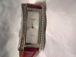 "L58, Mondu, Ladies Watch, Crystal Surround, 8"" Red Leather Band, w/b - $15.83"