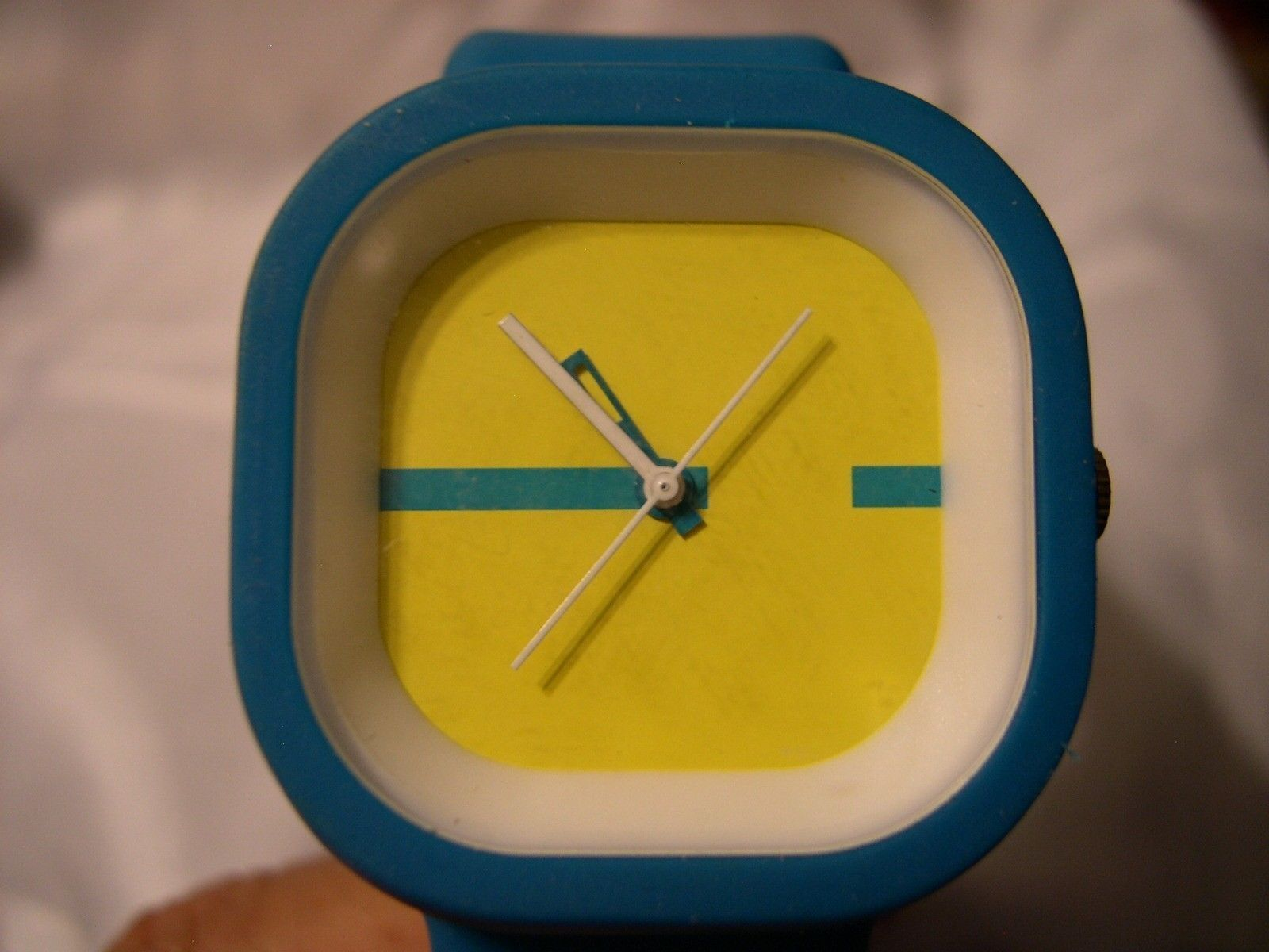"Primary image for L13, Xhilaration, 8"" Turquoise Silicon Band and Yellow Face Ladies Watch  w/b"