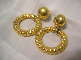 E01, ANNE KLEIN -  Gold Tone Bob with Twisted Hoop - Pierced Earrings - $9.89