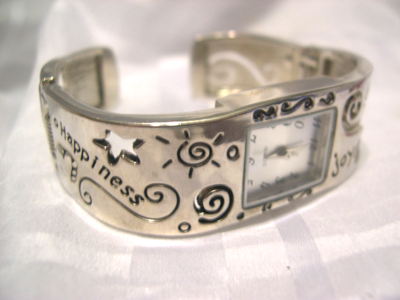 "Primary image for L13, Ladies Cuff Watch, Silver Tone, Joy, Love, Happiness, 2.25"" inner dia. wb"