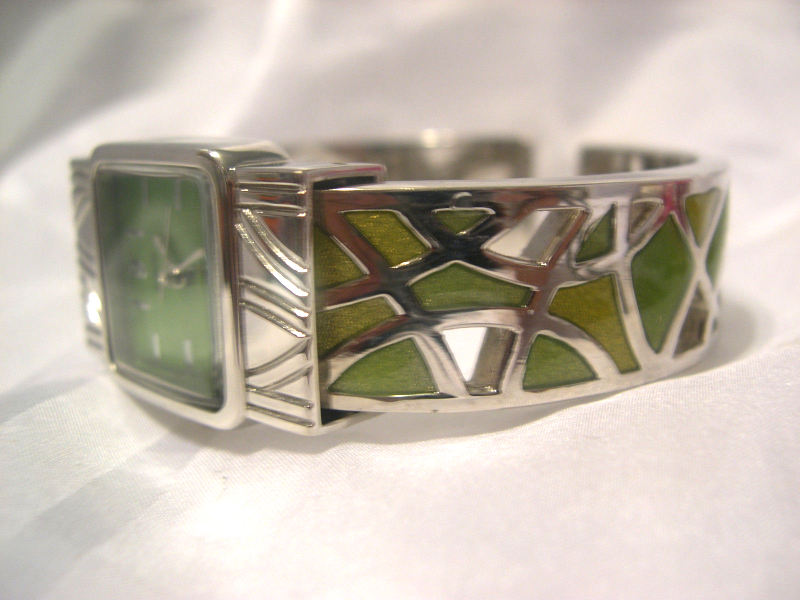 Primary image for L13, Vivani, Ladies Green Face Cuff Watch, Silver Tone & Green Enamel Band wb