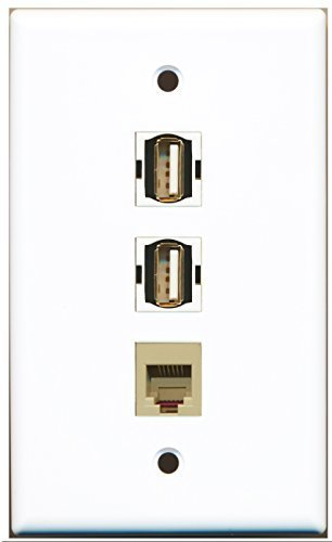 RiteAV - 2 Port USB A-A and 1 Port Phone RJ11 RJ12 Beige Wall Plate