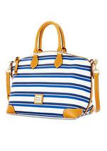Dooney & Bourke Blue/Navy/White Cotton Top Zip Closure Stonington Satchel - $339.99