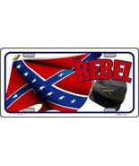 The Rebel Cap and Confederate Flag  Tag Sign Li... - $18.99