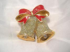 "P06, Christmas Bells & Red Ribbon, Pin or Brooch,  Hats Purse Coat   1.25"" dia. - $5.95"
