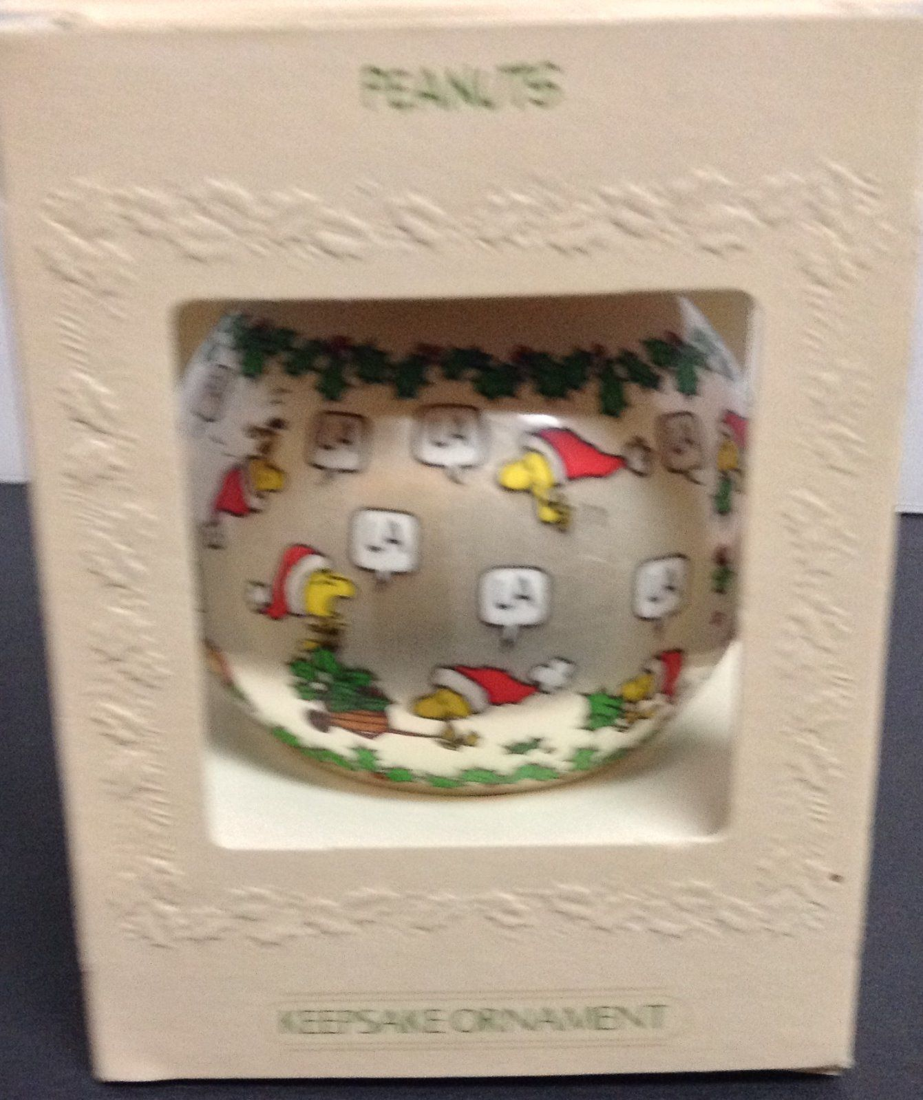 Vintage 1981 Peanuts Gang Satin Ball Christmas Ornament in Box Deck the Halls
