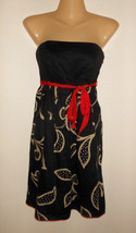 MAEVE ANTHROPOLOGIE XS 2 BLACK TAUPE FLORAL RED SASH BELT STRAPLESS LINE... - $19.80