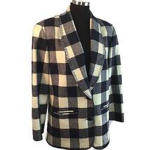 Pendleton Wool Buffalo Check Plaid Blazer Jacket Blanket Stitch Shawl Collar 8 - $74.25