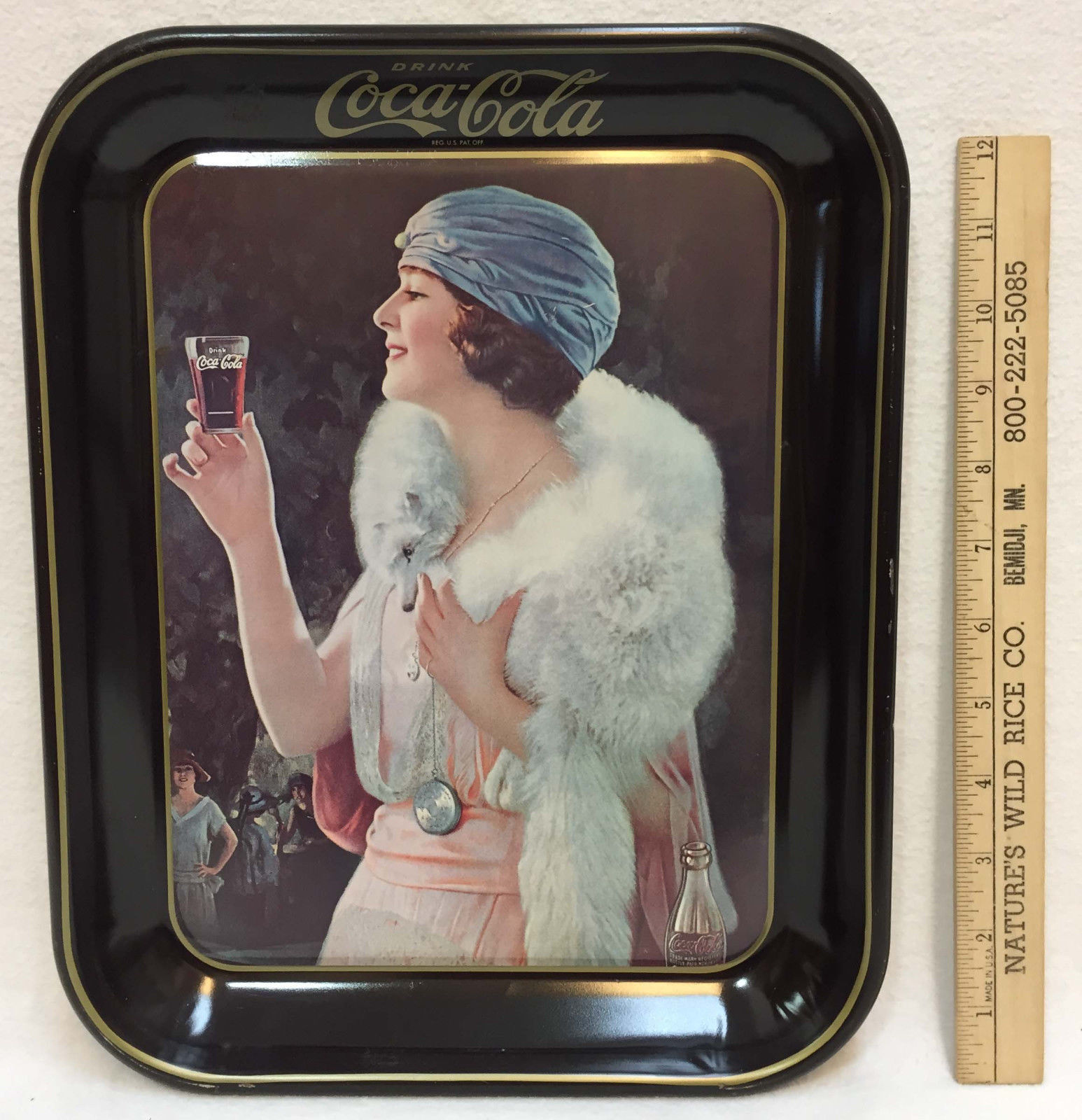 Primary image for Coca Cola Tray 1925 Woman Flapper Drinking a Coke from Glass Metal Tin 1983 Mfg