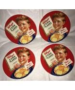 Lot of 4-Vintage 2006 Kellogg's Red Corn Flakes Breakfast Salad Plates 8... - $19.79