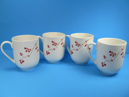4 Mikasa Gourmet Basics RED BERRIES  Mugs Bundle of 4 pristine condition - $28.71