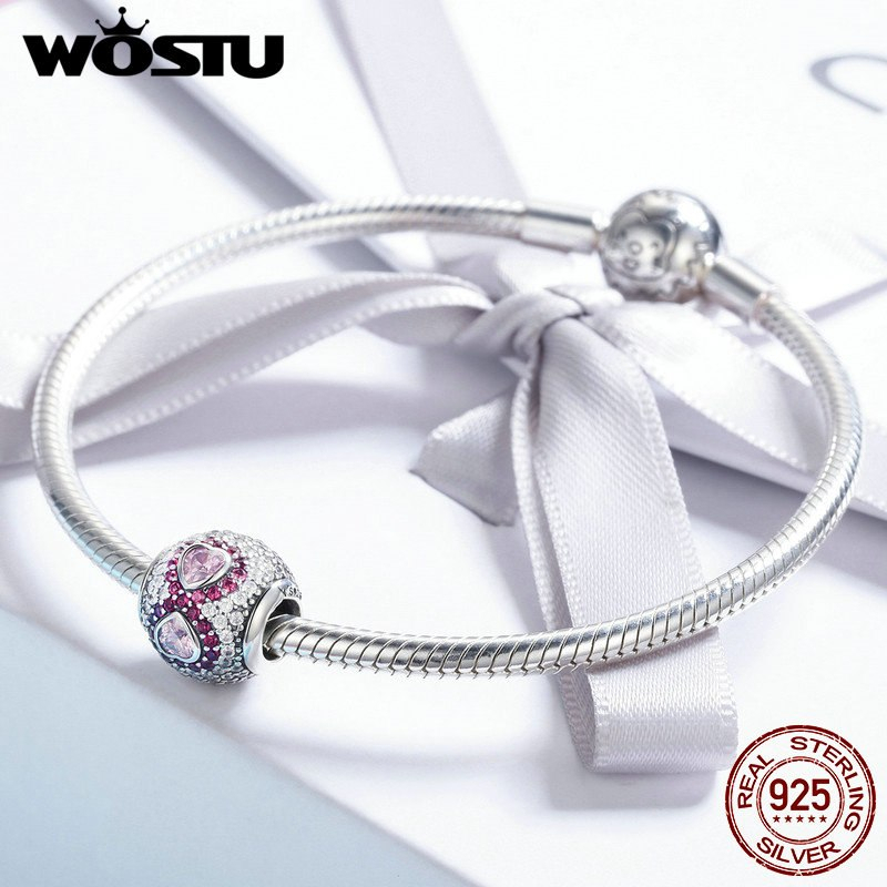 WOSTU High Quality 925 Sterling Silver Infinity LOVE Pink Heart CZ Beads fit Ori