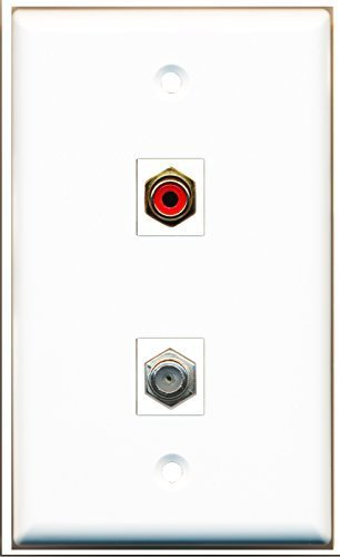 RiteAV - 1 RCA Red and 1 Coax F-Type Cable TV Port Wall Plate White - Bracket In