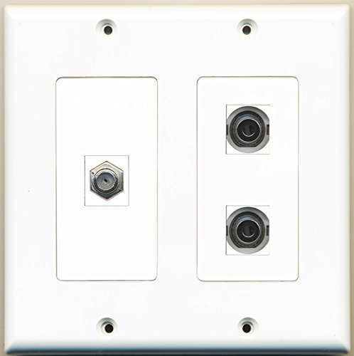 RiteAV - 1 Port Coax Cable TV- F-Type 2 Port 3.5mm - 2 Gang Wall Plate