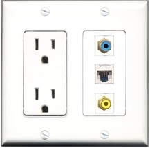 RiteAV - 15 Amp Power Outlet 1 Port RCA Yellow 1 Port RCA Blue 1 Port Cat5e E... - $29.99
