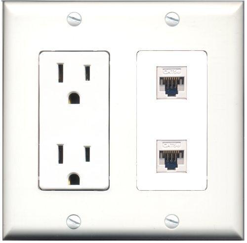 RiteAV - 15 Amp Power Outlet 2 Port Cat5e Ethernet White Decora Type Wall Pla...