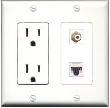 RiteAV - 15 Amp Power Outlet and 1 Port RCA White and 1 Port Cat5e Ether... - $29.99