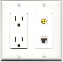 RiteAV - 15 Amp Power Outlet and 1 Port RCA Yellow and 1 Port Cat5e Ethe... - $29.99
