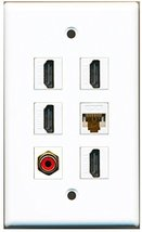 RiteAV - 4 HDMI 1 Port RCA Red 1 Port Cat6 Ethernet White Wall Plate - $26.33