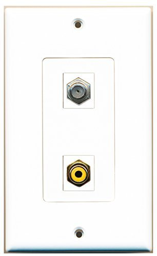 RiteAV - 1 Port RCA Yellow - 1 Port Coax Port Cable TV F Type Wall Plate Deco...