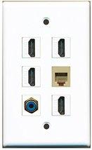 RiteAV - 4 HDMI 1 Port RCA Blue 1 Port Phone RJ11 RJ12 Beige Wall Plate - $26.33
