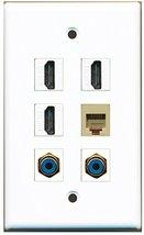 RiteAV - 3 HDMI 2 Port RCA Blue 1 Port Phone RJ11 RJ12 Beige Wall Plate - $26.33