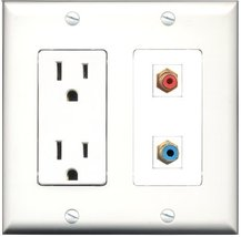RiteAV - 15 Amp Power Outlet and 1 Port RCA Red and 1 Port RCA Blue Decora Ty... - $29.99