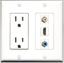 RiteAV - 15 Amp Power Outlet 1 Port HDMI 1 Port RCA White 1 Port RCA Blue Dec... - $29.99