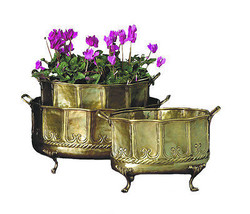 Antique Style Embossed Brass Footed Planters/Bo... - $391.05