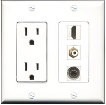 RiteAV - 15 Amp Power Outlet 1 Port HDMI 1 Port RCA White 1 Port 3.5mm Decora... - $29.99