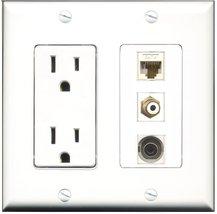 RiteAV - 15 Amp Power Outlet 1 Port RCA White 1 Port 3.5mm 1 Port Cat6 E... - $29.99