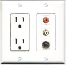 RiteAV - 15 Amp Power Outlet 1 Port RCA Red 1 Port RCA White 1 Port 3.5m... - $29.99