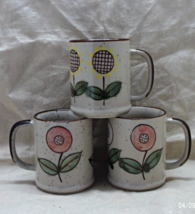 Vintage Set of Three Hand Painted Stoneware Coffee Cups // Flower Design... - $14.00