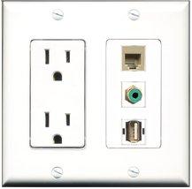 RiteAV - 15 Amp Power Outlet 1 Port RCA Green 1 Port USB A-A 1 Port Phone Beige  - $34.99