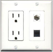 RiteAV - 15 Amp Power Outlet and 1 Port Coax Cable TV- F-Type and 1 Port Cat5... - $29.99
