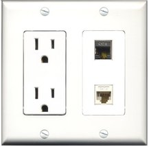 RiteAV - 15 Amp Power Outlet and 1 Port Shielded Cat6 Ethernet and 1 Port Cat... - $29.99