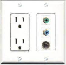 RiteAV - 15 Amp Power Outlet 1 Port RCA Green 1 Port RCA Blue 1 Port 3.5... - $29.99