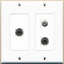 RiteAV - 1 Port Coax Cable TV- F-Type 2 Port 3.5mm - 2 Gang Wall Plate - $27.99