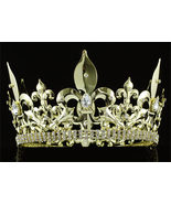 "Men's Imperial Medieval Fleur De Lis 4.25"" Full Circle Gold King Crown - $54.99"