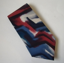 Pierre Cardin Abstract Neck Tie Red Blue Gray White Mens Multi Color Neckwear  - $19.00