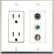 RiteAV - 15 Amp Power Outlet 1 Port RCA Green 1 Port USB A-A 1 Port 3.5m... - $34.99